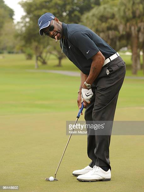 Player Jerry Rice attends the Super Skins Celebrity Golf Classic Tee Off at The Biltmore Hotel Golf Club on February 5 2010 in Coral Gables Florida