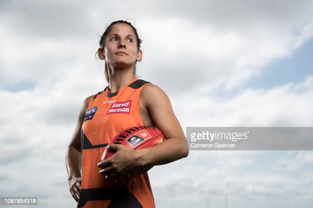 GWS player Jess Dal Pos poses following a Greater Western Sydney Giants media opportunity announcing a new KIA sponsorship deal at WestConnext Centre...