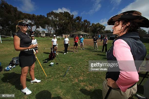 LPGA player Jill McGill of the USA and Golf Instructor Dana Bates speak during Fortune Magazine Clinic at the LPGA Samsung World Championship on...