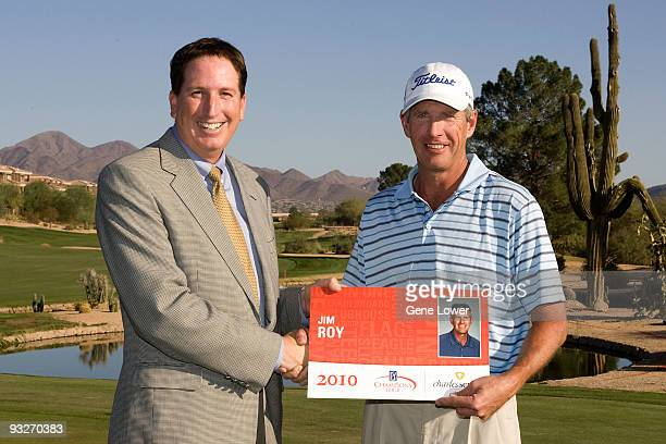 Player Jim Roy with Mike Stevens President Champions Tour received their Qualifying cards at the 2009 Champions Tour National Qualifying Tournament...