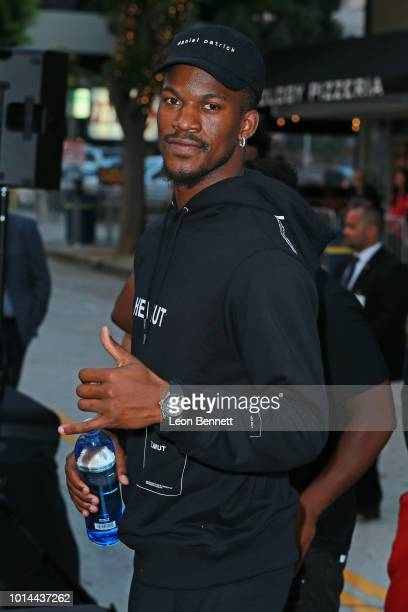 NBA player Jimmy Butler attends the Premiere Of STX Films' Mile 22 at Westwood Village Theatre on August 9 2018 in Westwood California