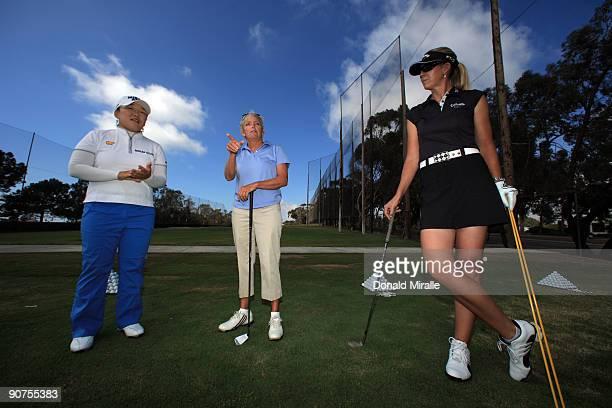 LPGA player Jiyai Shin of South Korea Golf Pro Instructor Sheri Hayes and LPGA player Jill McGill speak during Fortune Magazine Clinic at the LPGA...