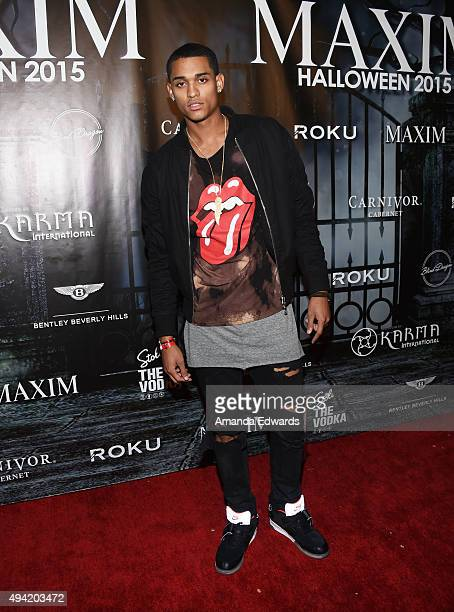 Player Jordan Clarkson arrives at MAXIM Magazine's Official Halloween Party at a private estate on October 24, 2015 in Beverly Hills, California.