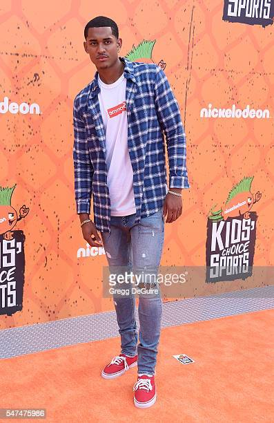 NBA player Jordan Clarkson arrives at Nickelodeon Kids' Choice Sports Awards 2016 at UCLA's Pauley Pavilion on July 14 2016 in Westwood California