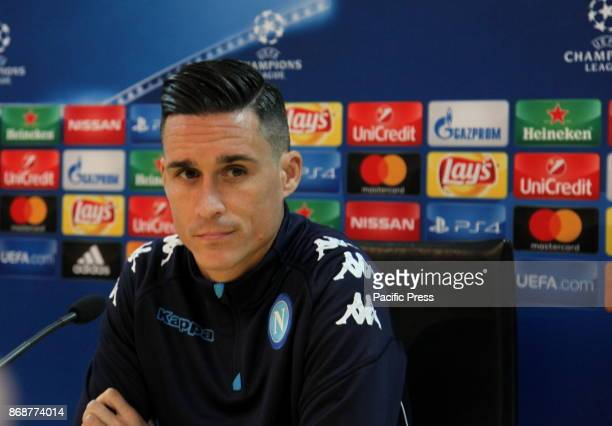 Player Jose Maria Callejon during the prepress conference for tomorrow's Champions League match between Napoli and Manchester City