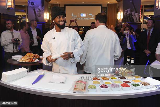 MLB player Jose Reyes and Chef Andrew Carmellini celebrate the launch of Sheraton Hotels Resorts SPG and MLB's New Partnership at a special screening...