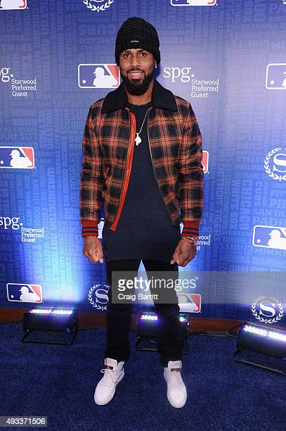 MLB player Jose Reyes celebrates the launch of Sheraton Hotels Resorts SPG and MLB's New Partnership at a special screening of Game 3 of the ALCS at...