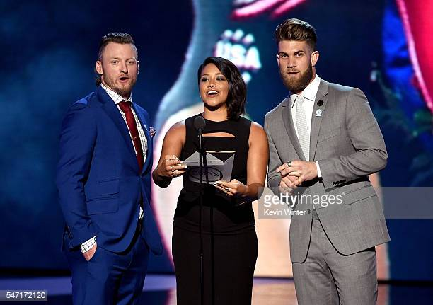 MLB player Josh Donaldson actress Gina Rodriguez and MLB player Bryce Harper speak onstage during the 2016 ESPYS at Microsoft Theater on July 13 2016...