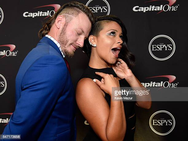 MLB player Josh Donaldson and actress Gina Rodriguez attend the 2016 ESPYS at Microsoft Theater on July 13 2016 in Los Angeles California