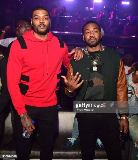 PLayer Josh Smith and NBA Player John Wall attend Trouble Welcome Home Party at Gold Room on January 26 2018 in Atlanta Georgia