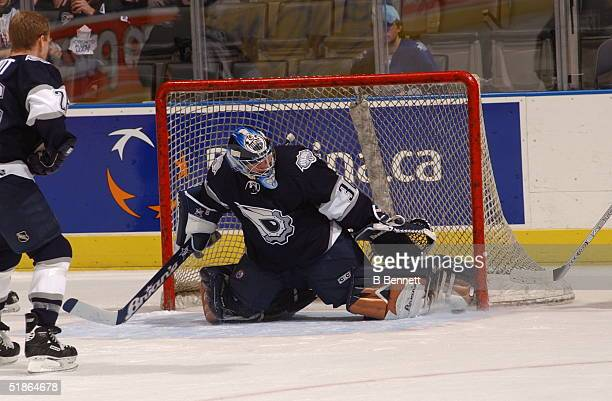 Player Jussi Markkanen in action in a game between the Toronto Maple Leafs vs the Edmonton Oilers