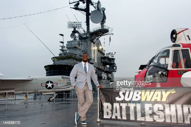 """Player Justin Tuck attends Universal Studios """"Battleship"""" Screening Honoring Military Heroes at the Intrepid Sea-Air-Space Museum on May 15, 2012 in..."""