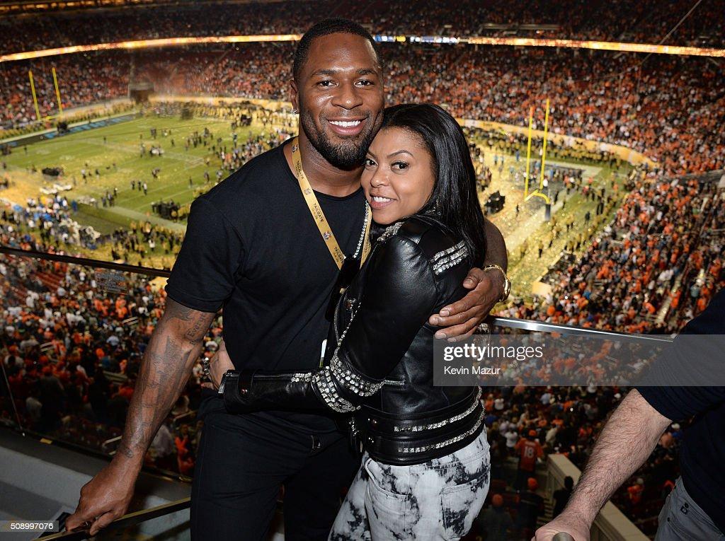 NFL player Kelvin Hayden (L) and actress Taraji P. Henson attend Super Bowl 50 at Levi's Stadium on February 7, 2016 in Santa Clara, California.
