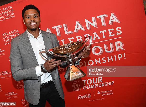 Player Kent Bazemore attend 2016 Atlanta Celebrates The Tour Championship at College Football Hall of Fame on September 19 2016 in Atlanta Georgia
