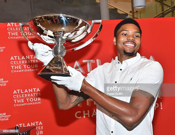 Player Kent Bazemore attends Atlanta Celebrates The Tour Championship at College Football Hall of Fame on September 21 2015 in Atlanta Georgia