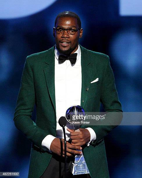 NBA player Kevin Durant accepts the Best Male Athlete award onstage during the 2014 ESPYS at Nokia Theatre LA Live on July 16 2014 in Los Angeles...