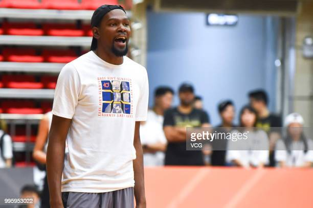 NBA player Kevin Durant of Golden State Warriors attends NIKE Rise Academy activity during his trip to China on July 7 2018 in Guangzhou Guangdong...