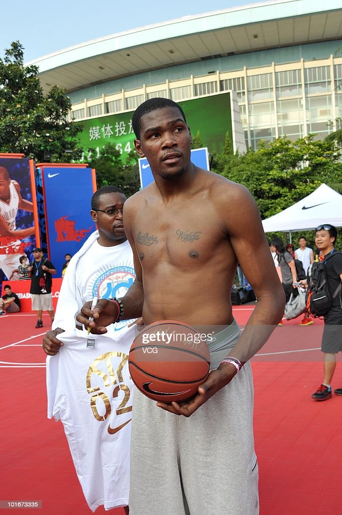 NBA player Kevin Durant of the Oklahoma City Thunder attend a NIKE training camp on June 6, 2010 in Shanghai, China.