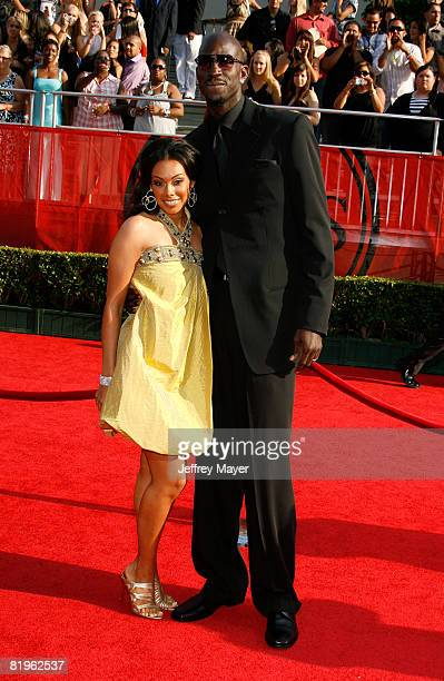 NBA player Kevin Garnett and wife Brandi Garnett arrive at the 2008 ESPY Awards held at NOKIA Theatre LA LIVE on July 16 2008 in Los Angeles...