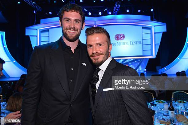 NBA player Kevin Love and professional soccer player David Beckham attend the 27th Anniversary Sports Spectacular benefiting CedarsSinai Medical...
