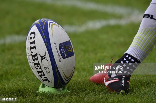A player kicks a penalty during the European Rugby Union Champions Cup match between Clermont and Saracens at The Michelin Stadium in ClermontFerrand...