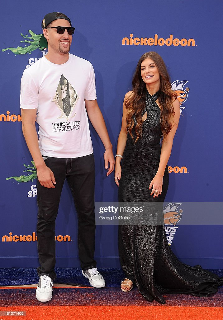 NBA player Klay Thompson and Hannah Stocking arrive at the