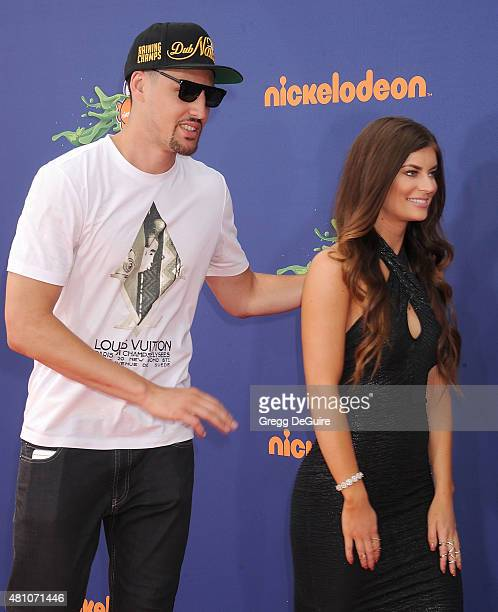 NBA player Klay Thompson and Hannah Stocking arrive at the Nickelodeon Kids' Choice Sports Awards 2015 at UCLA's Pauley Pavilion on July 16 2015 in...