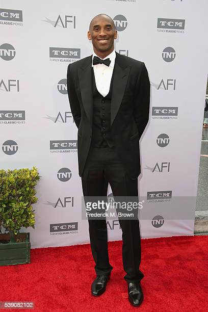 Player Kobe Bryant arrives at the American Film Institute's 44th Life Achievement Award Gala Tribute to John Williams at Dolby Theatre on June 9,...