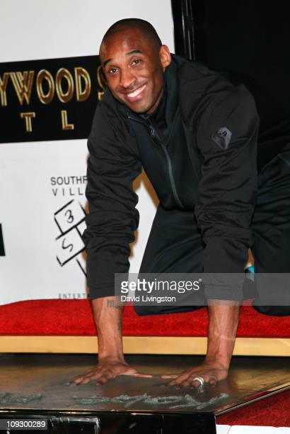 Player Kobe Bryant attends his hand and footprint ceremony at Grauman's Chinese Theater on February 19, 2011 in Hollywood, California.