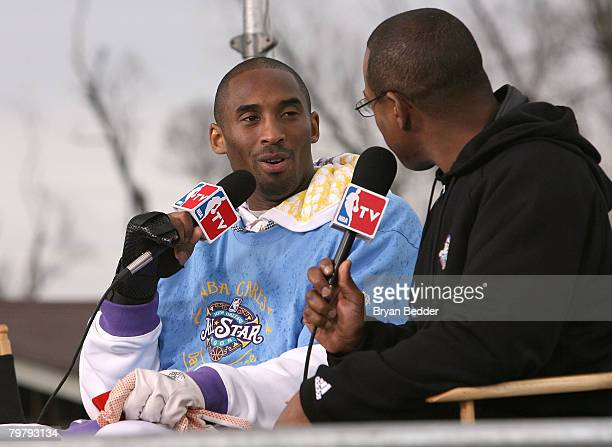 NBA player Kobe Bryant of the Los Angeles Lakers is interviewed as part of his work building a home with NBA Cares during NBA AllStar Weekend on...