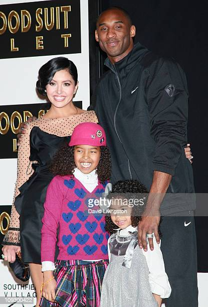 NBA player Kobe Bryant wife Vanessa Bryant and daughters Natalia Diamante Bryant and Gianna MariaOnore Bryant attend his hand and footprint ceremony...