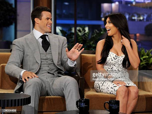 NBA player Kris Humphries and his wife reality TV personality Kim Kardashian appear on the Tonight Show With Jay Leno at NBC Studios on October 4...