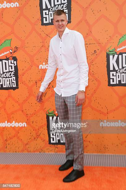 NBA player Kristaps Porzingis arrives at the Nickelodeon Kids' Choice Sports Awards 2016 at the UCLA's Pauley Pavilion on July 14 2016 in Westwood...