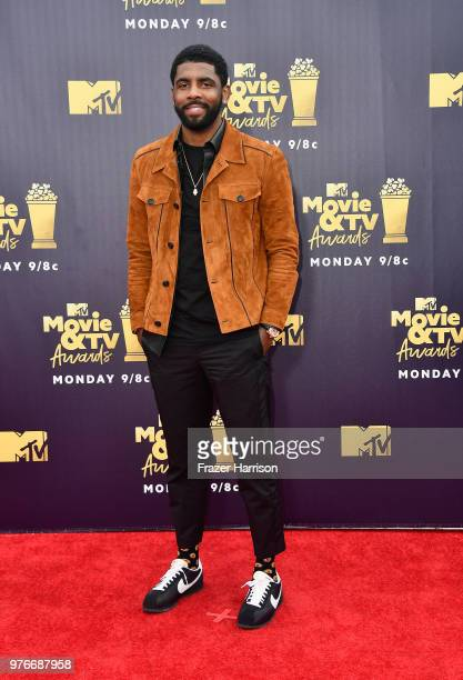 NBA player Kyrie Irving attends the 2018 MTV Movie And TV Awards at Barker Hangar on June 16 2018 in Santa Monica California