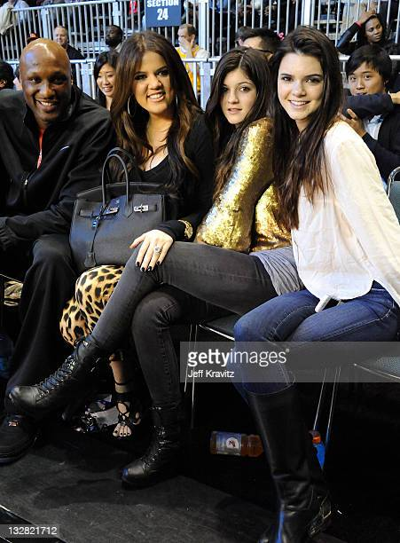 NBA Player Lamar Odom and TV Personalities Khloe Kardashian Kylie Jenner and Kendall Jenner attend the 2011 BBVA NBA AllStar Celebrity Game at Los...