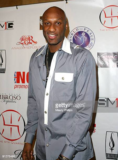 Player Lamar Odom arrives at the official launch of 'The Fifth Quarter' at the Conga Room on April 3 2009 in Los Angeles California
