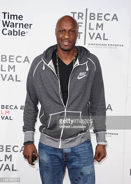 NBA player Lamar Odom attends the Tribeca/ESPN Sports Film Festival Gala for Benji during the 2012 Tribeca Film Festival at the Borough of Manhattan...