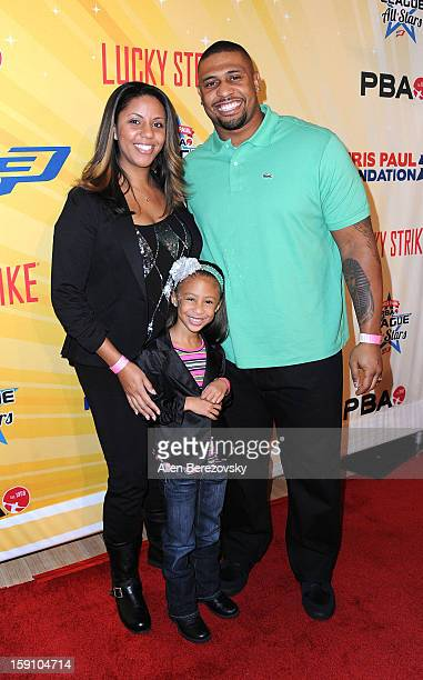 NFL player LaMarr Woodley and family arrive at the 5th annual Chris Paul PBA AllStars Invitational hosted by LA Clippers star guard Chris Paul at...
