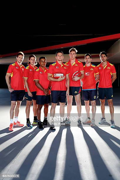 Player leadership group Michael Barlow David Swallow Touk Miller Steven May Tom Lynch Michael Rischitell and Matt Rosa pose during a Gold Suns AFL...