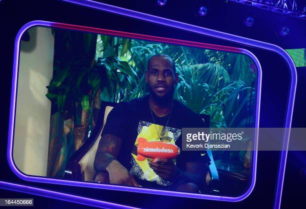 NBA player LeBron James accepts Favorite Male Athlete award via video during Nickelodeon's 26th Annual Kids' Choice Awards at USC Galen Center on...