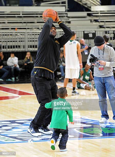 NBA player LeBron James and his son Bryce James shoot the ball during the NBA AllStar celebrity game presented by Final Fantasy XIII held at the...