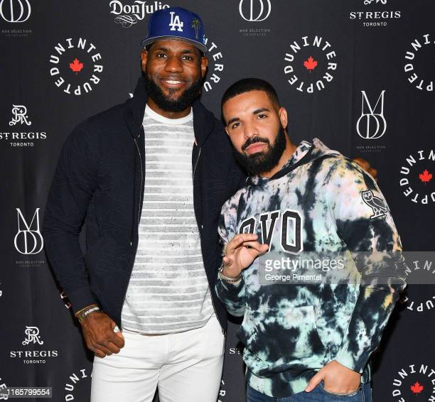 Player Lebron James and Rapper Drake attend the Uninterrupted Canada Launch held at Louis Louis at The St. Regis Toronto on August 02, 2019 in...
