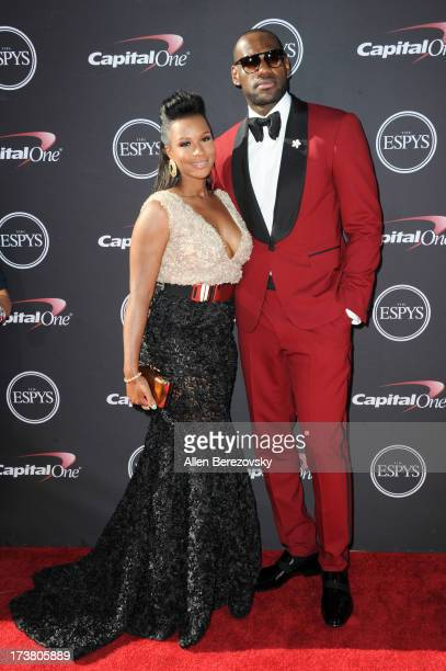 NBA player LeBron James and Savannah Brinson arrive at the 2013 ESPY Awards at Nokia Theatre LA Live on July 17 2013 in Los Angeles California