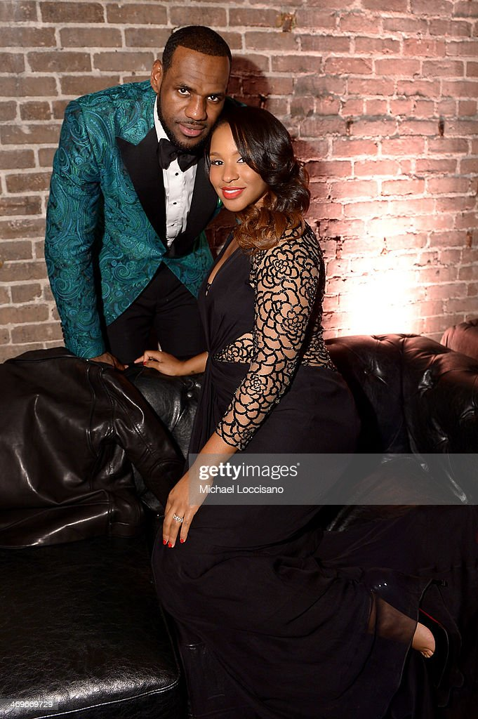 Player LeBron James (L) and Savannah Brinson attend GQ & LeBron James NBA All Star Party Sponsored By Samsung Galaxy And Beats at Ogden Museum's Patrick F. Taylor Library on February 15, 2014 in New Orleans, Louisiana.