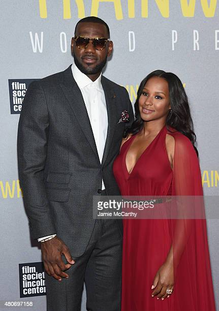 NBA player LeBron James and wife Savannah Brinson attend the Trainwreck New York Premiere at Alice Tully Hall on July 14 2015 in New York City