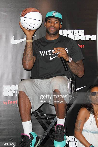 NBA player LeBron James debuts Lebron 8 Shoe at House of Hoops by Foot Locker Opening at Dadeland Mall on October 16 2010 in Miami Florida