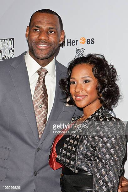 NBA player LeBron James of the Miami Heat and Savannah Brinson arrive at AfterSchool AllStars Hoop Heroes Salute launch party at Katsuya on February...