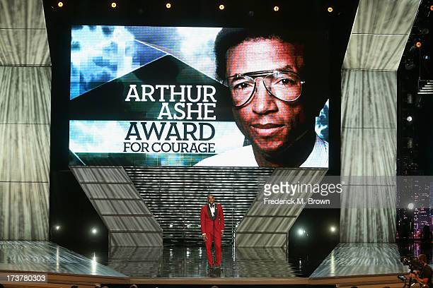 NBA player Lebron James onstage after presenting the Arthur Ashe Courage Award at The 2013 ESPY Awards at Nokia Theatre LA Live on July 17 2013 in...