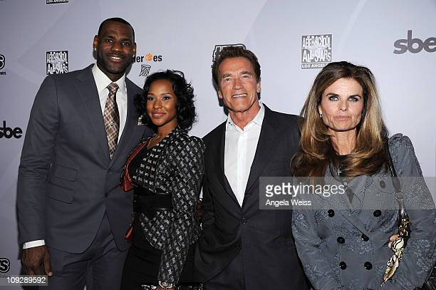 Player LeBron James, Savannah Brinson, former California Governor Arnold Schwarzenegger and Maria Shriver arrive at the After-School All Stars Hoop...