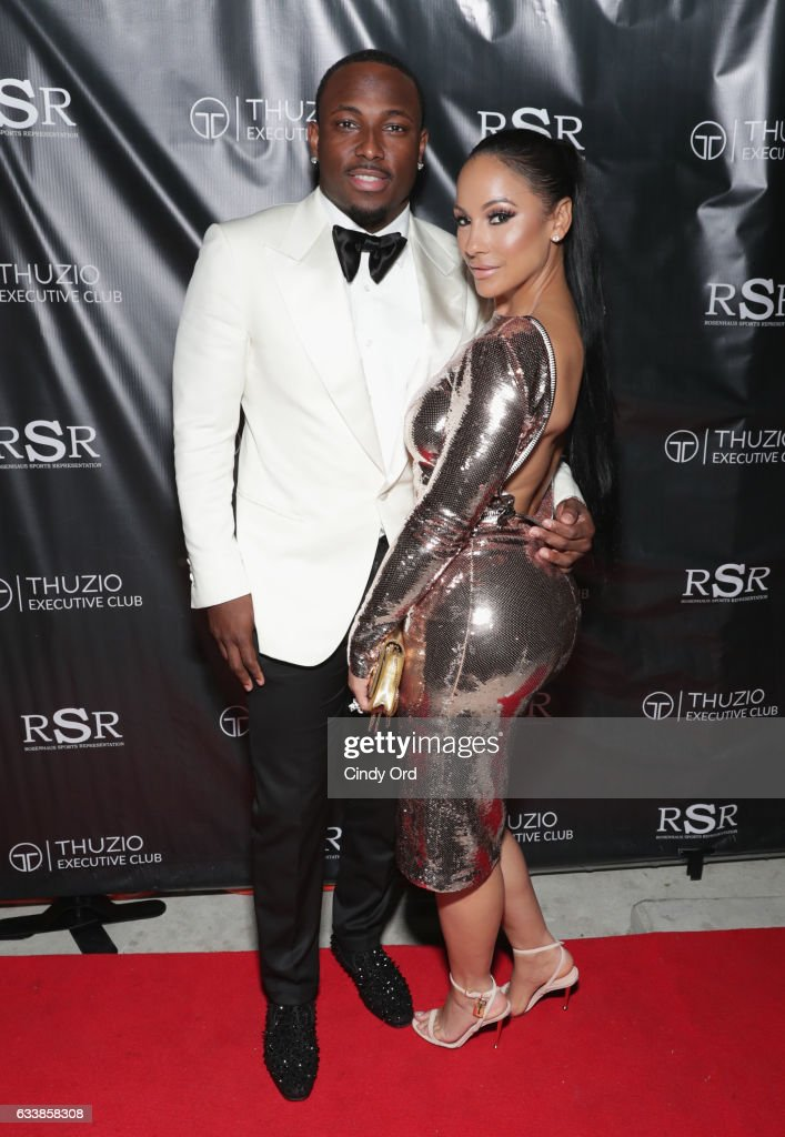 NFL player LeSean McCoy (L) and designer Delicia Cordon arrive at the Thuzio Executive Club and Rosenhaus Sports Representation Party at Clutch Bar during Super Bowl Weekend, on February 4, 2017 in Houston, TX.
